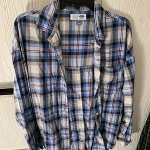 Blue and white Old Navy flannel